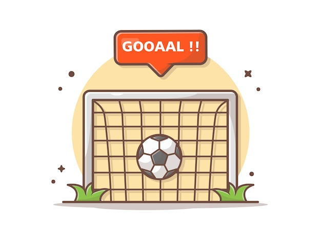 Goal net with goal sign  icon illustration