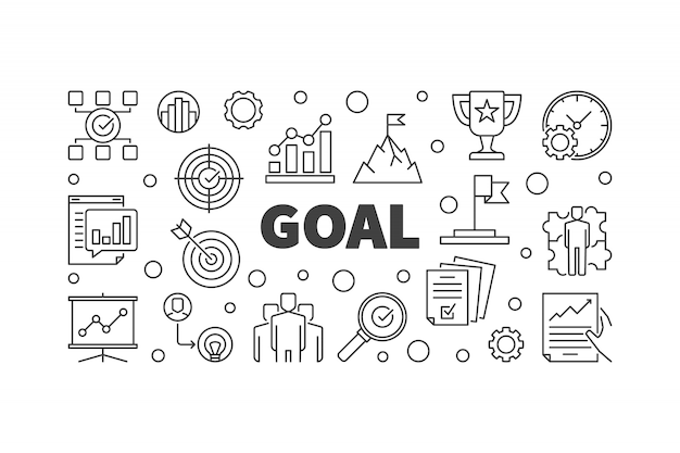 Goal outline illustration. business concept banner