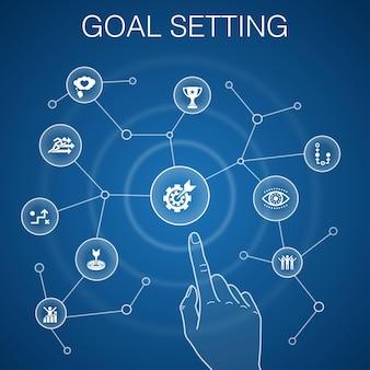 目標設定の概念、青い背景。大きな夢、アクション、ビジョン、戦略アイコン