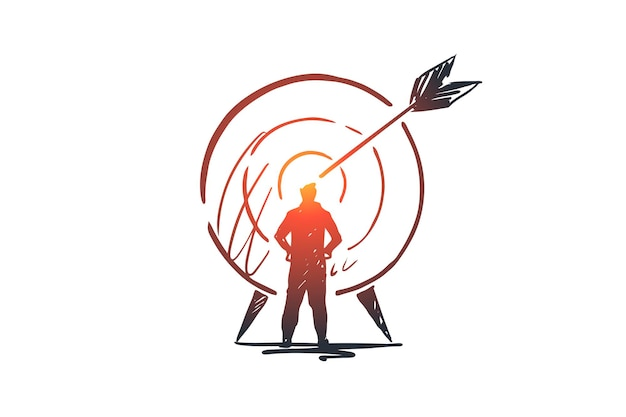 Goal, success, target, aim, arrow concept. hand drawn person and target with arrow concept sketch.