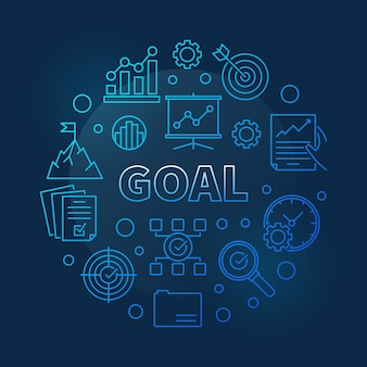 Goal vector concept business blue round linear illustration
