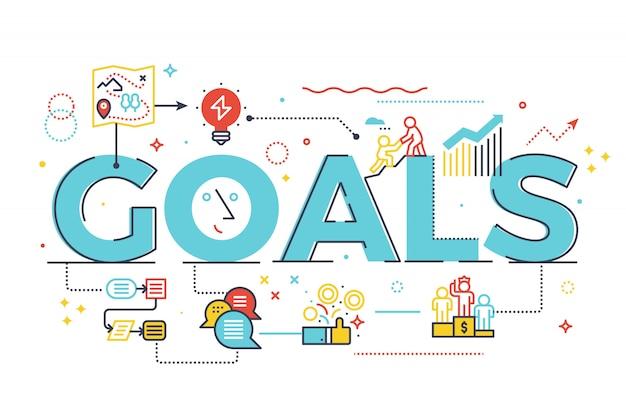 Goal word in business concept lettering design illustration