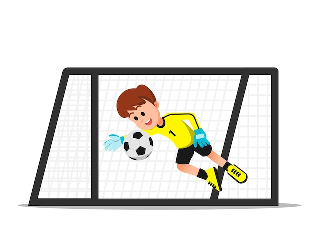 A goalkeeper boy tries to parry the ball