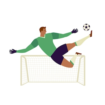 Goalkeeper jumping to catch ball illustration.