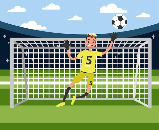 Вратарь прыгает, чтобы поймать мяч. футболист или футболист