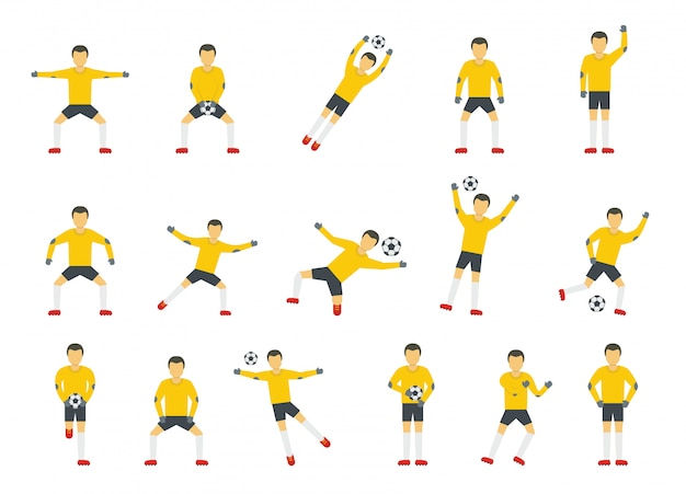 Goalkeeper man icons set