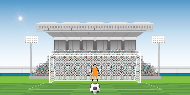Goalkeeper prepares to take a penalty kick on the gate