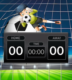 A goalkeeper scoreboard template