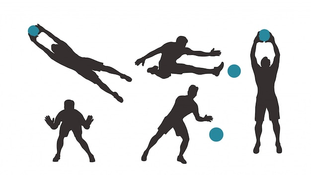 Goalkeeper silhouette set