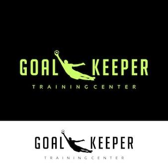 Goalkeeper silhouette sports training center logo