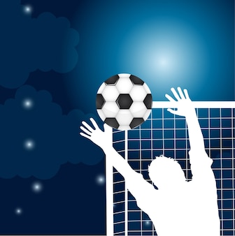 Goalkeeper with soccer ball at night