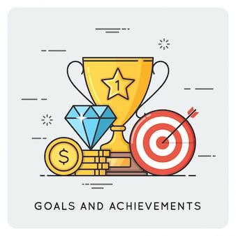 Goals and achievements. vector flat illustration.