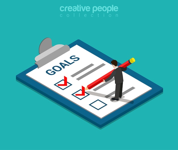 Goals checklist flat isometric