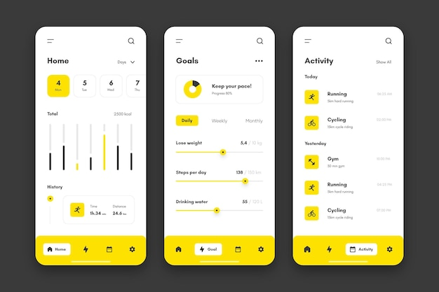 Goals and habits tracking app collection