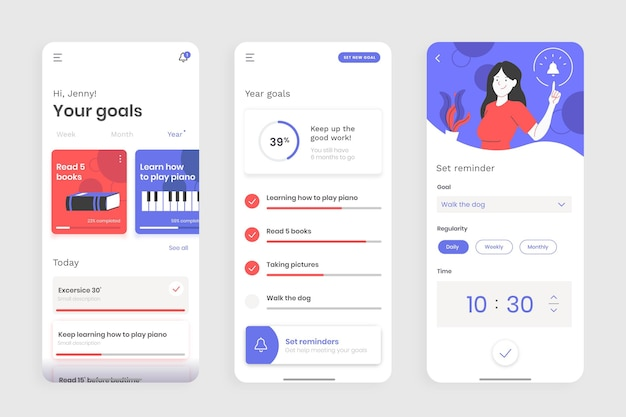Goals and habits tracking app screens set