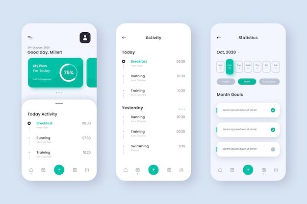 Goals and habits tracking app screens