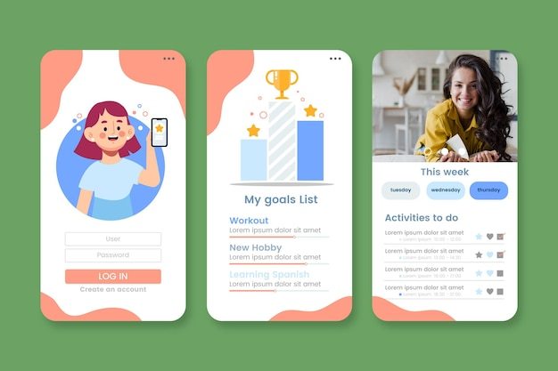 Goals and habits tracking app template
