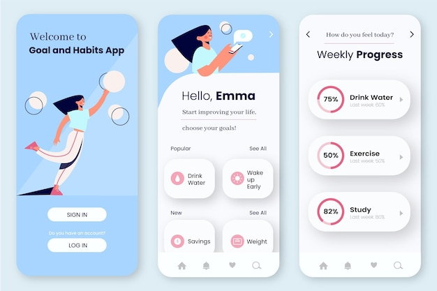 Goals and habits tracking app