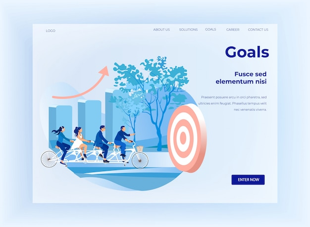 Goals setting for business team flat landing page