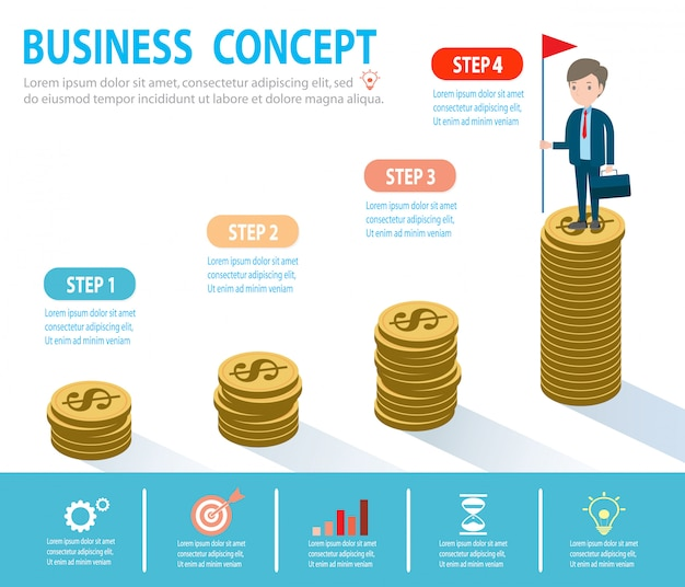 목표, 성공, 성과 및 도전 사업 사람들 개념, 구름 위의 사다리에 사업가, 단계적으로, 사람이 계단, 배너, 다이어그램, 웹 디자인, 인포 그래픽을 간다