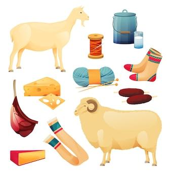 山羊と羊の牛製品