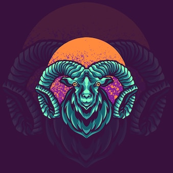 Goat animal mascot logo illustration