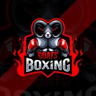 Коза бокс талисман логотип киберспорт дизайн шаблона