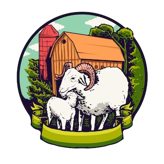 Goat breed logo illustration