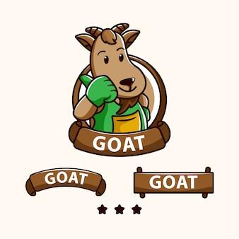 家畜、レストラン、乳業のロゴの山羊キャラクター