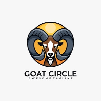 Goat circle logo design template Premium Vector