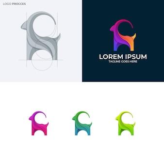 염소 다채로운 로고