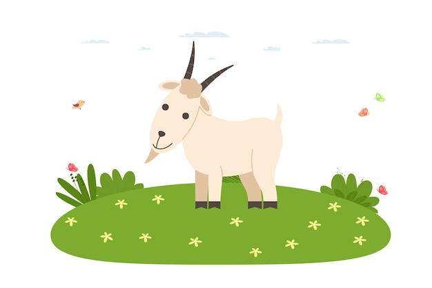 ヤギ。家畜および家畜。ヤギが芝生の上に立っています。漫画のフラットスタイルのベクトルイラスト。