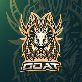 Goat esport gaming mascot logo template for streamer team. esport logo design with modern illustration concept style