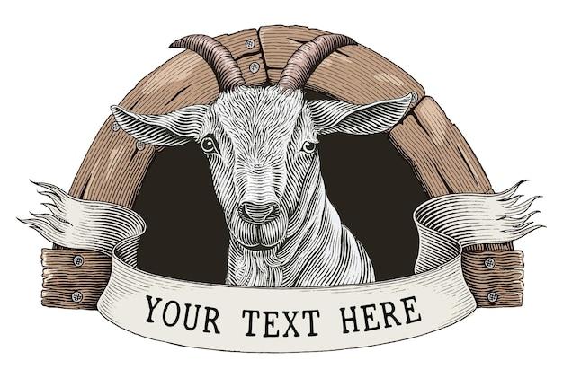 ヤギ農場のロゴの手描きのヴィンテージ彫刻スタイルのクリップアートを白で隔離