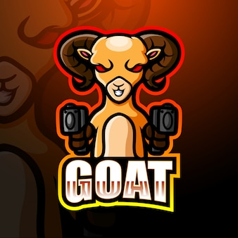 Goat gunner mascot esport logo illustration