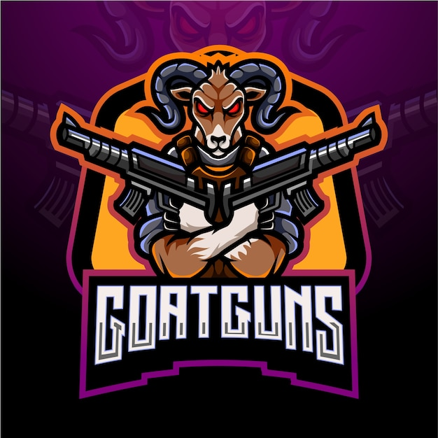 Козлиные пистолеты киберспорт дизайн логотипа талисмана