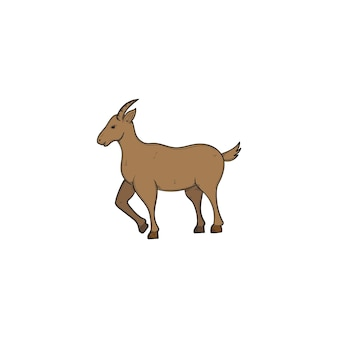 分離されたヤギ手描きイラストデザインテンプレート
