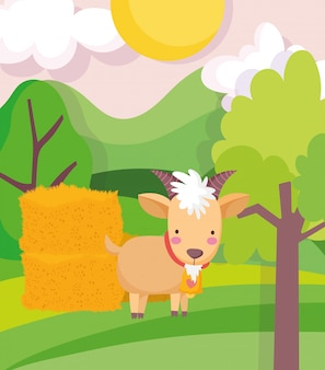 Goat and hay stack trees field sun farm animal cartoon illustration