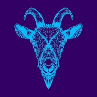 ヤギの頭のイラストネオンカラー