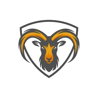 ヤギの頭のロゴ、動物頭のベクトルのイラスト