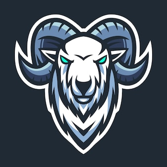 Коза голова талисман логотип киберспорт вектор