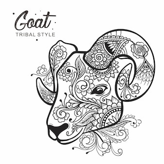 Goat head tribal style hand drawn