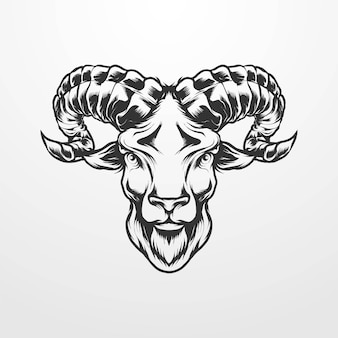 Goat head vector illustration in vintage, old classic monochrome style. suitable for t-shirts, prints, logos and other apparel products