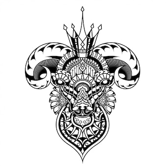 Goat illustration, mandala zentangle and tshirt design