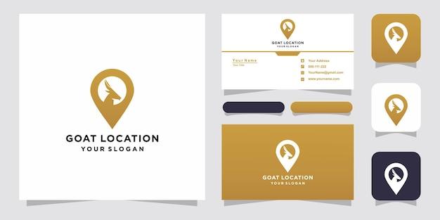 Шаблоны логотипов местоположения коз и дизайн визиток