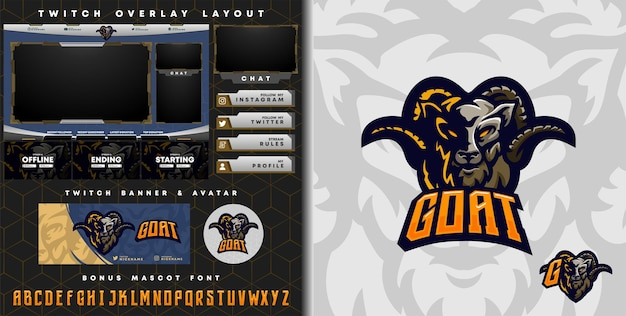 Goat logo for e-sport gaming mascot logo and twitch overlay template