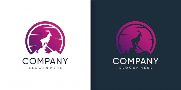 Goat logo standing in the mountain with silhouette concept