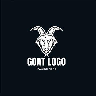 Шаблон логотипа коза черный и белый