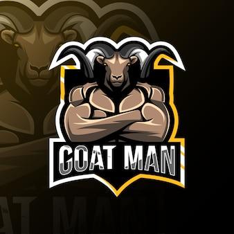 Goat man mascot logo esport