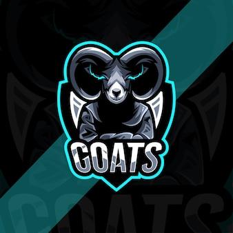 ヤギのマスコットのロゴのテンプレートデザイン